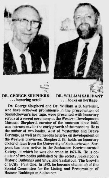 1977 Star Phoenix WDM Heritage George Shepherd curator 1953 Dr William Sarjeant Historic buildings Jul 23