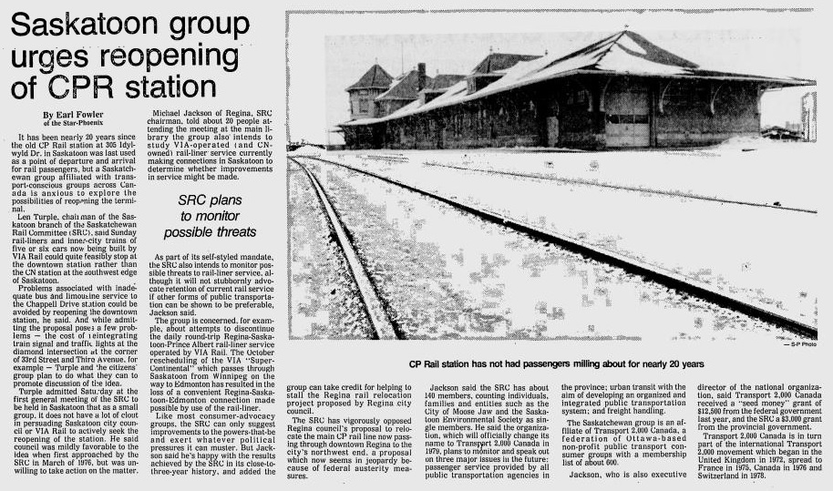 1978 Star Phoenix Train CPR Station closed 305 Idylwyld Dr Michael Jackson Len Turple heritage Dec 18