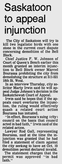 1979 Star Phoenix Bell block demolition heritage historic site Ave F 17th St injunction Jun 1